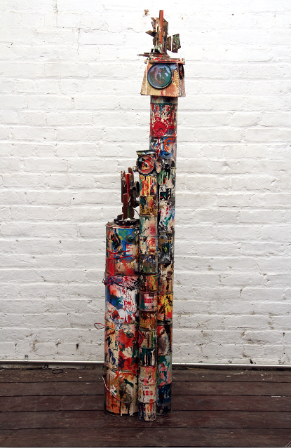 (bonded) paint on wood and metal,                          April 1991