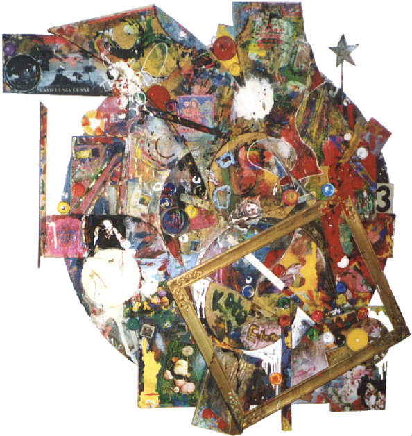 "paint, collage on wood,                 	     1995-96 48""x43"" (irregular tondo)"